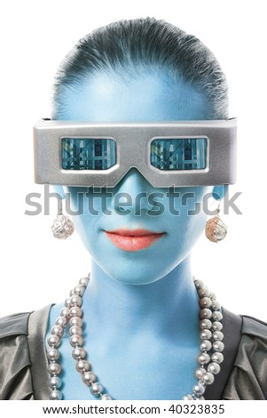 Head of beautiful woman with color skin and futuristic metallic glasses,isolated