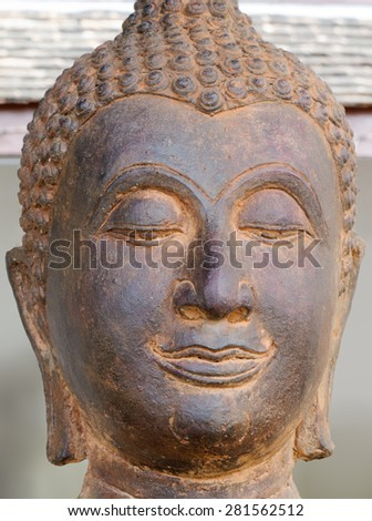 Head of Buddha metals statue in Thai temple