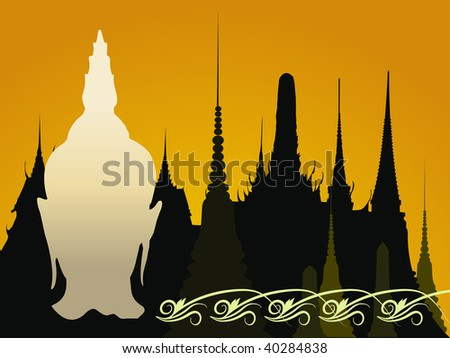 head of buddha with buddhist temple as a backgound - stock photo
