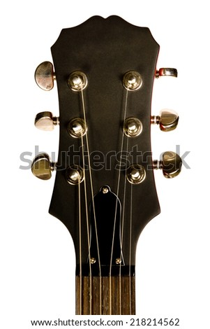 Head of classical acoustic guitar brown isolated on white background - stock photo