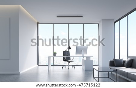 Head of company's office interior with computer table, desktop, sofa, coffee table and panoramic windows. Concept of decision making. 3d rendering.