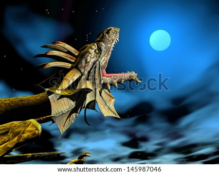 Head of dragon mouth wide open at full moon by night - stock photo
