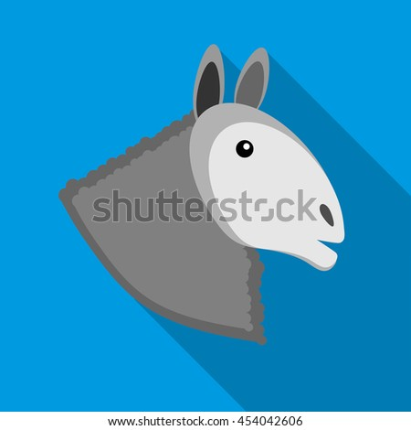 Head of horse icon in flat style on a sky blue background - stock photo