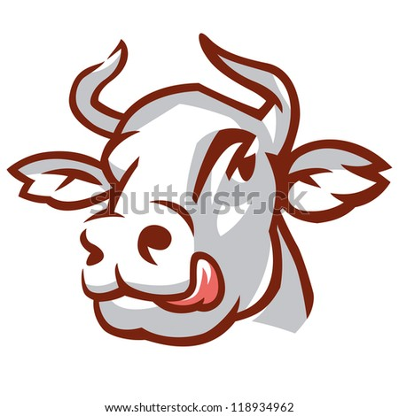 Head of Licking Cow. Stylized Drawing. Rasterized version - stock photo