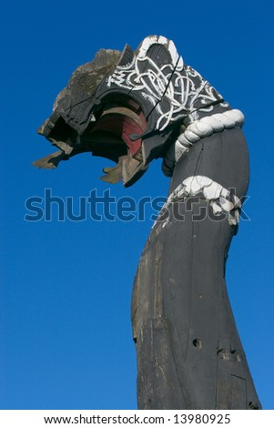 Head of old ship, black with white ornamental pattern Vyborg, Russia - stock photo