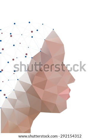 head of polygons. abstract form of human - stock photo