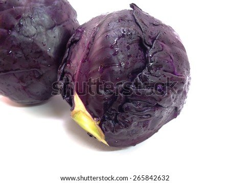 head of red cabbage isolated on white background - stock photo