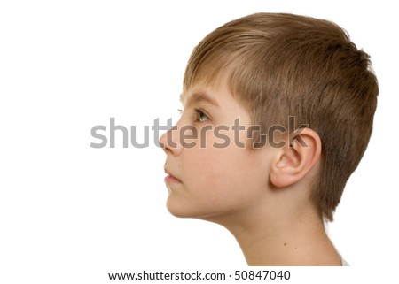 head of the boy isolated on white