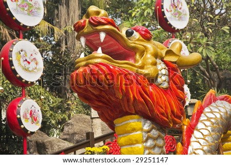 Head of the  Chinese dragon in park