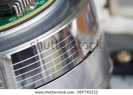 head of video cassette recorder close-up - stock photo