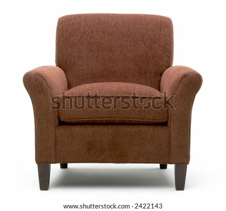 Head-on view of fabric chair - stock photo