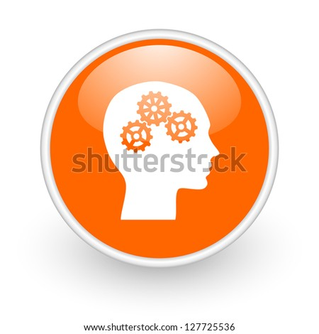 head orange circle glossy web icon on white background - stock photo