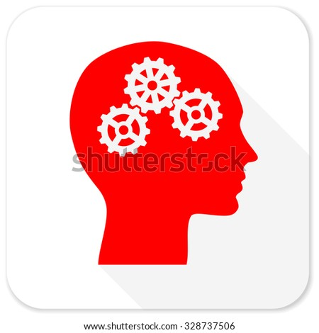 head red flat icon with long shadow on white background - stock photo