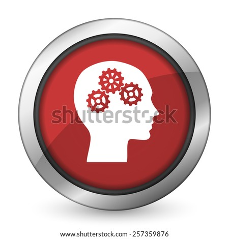 head red icon human head sign  - stock photo