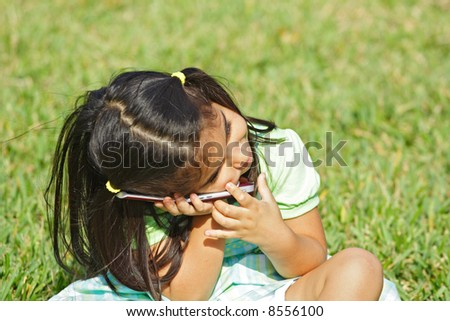 Head resting on the Phone - stock photo