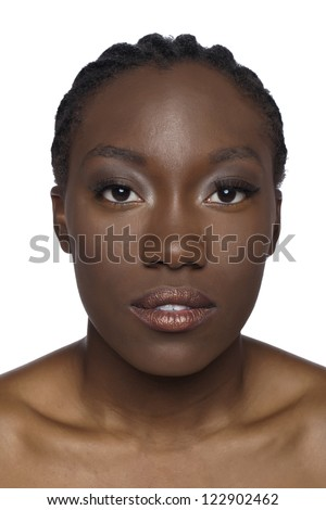 Head shot of a female African over a white background