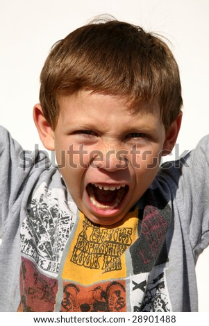 head shot of a 7 year old boy - stock photo
