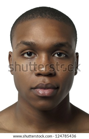 Head shot of a young african american man over a white background - stock photo
