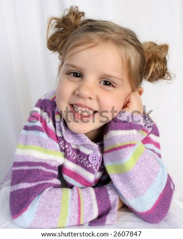 head shot of cute girl - stock photo