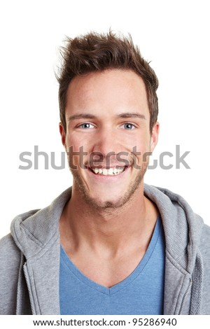 Head shot of happy smiling attractive man - stock photo