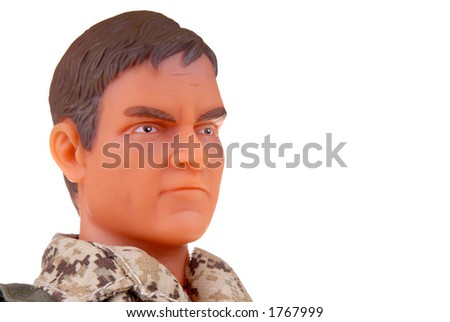 head shot of plastic toy soldier doll