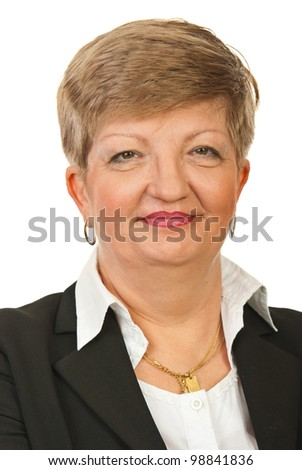 Head shot of smiling mature business woman isolated on white background