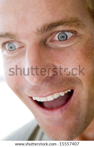Head shot of surprised man