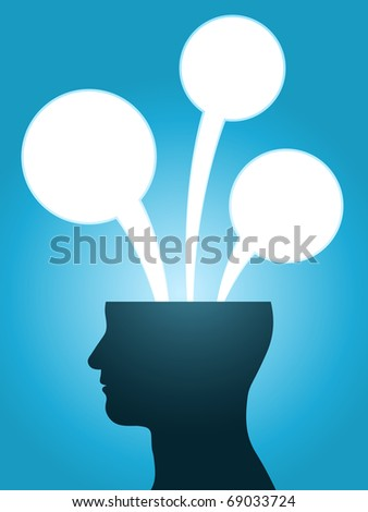 head silhouette speech bubble thoughts with copy-space - stock photo