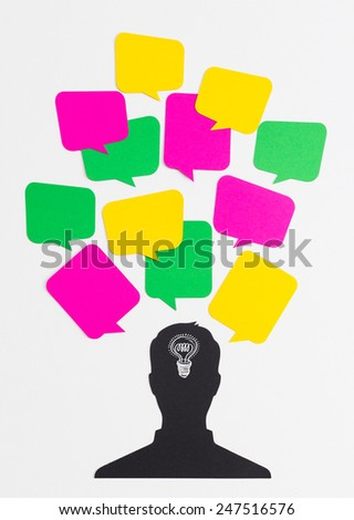 Head silhouette with bulb and text bubbles