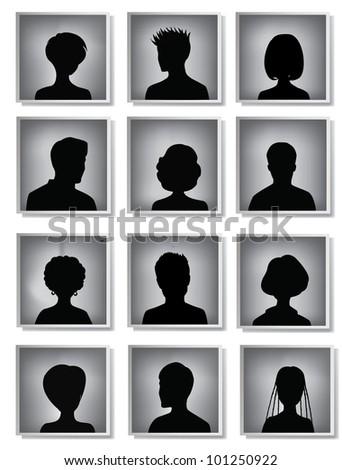 head silhouettes - stock photo