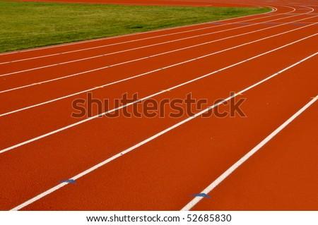 Head Start Red, Blue, Yellow Running Track - stock photo