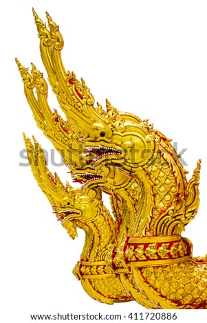 Head statue of golden snake on white background , Traditional thai style art