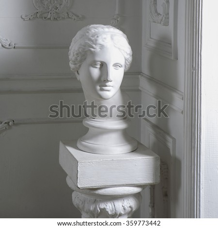 head still life in white interior, classic antique sculpture object for drawing in art school - stock photo
