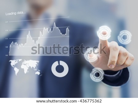 Head-up display interface showing business intelligence dashboard and charts with businessman fingers touching virtual buttons - stock photo