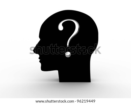 Head with a question inside. 3D image - stock photo