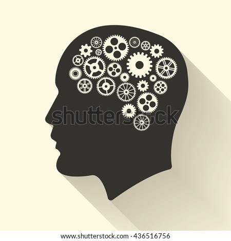 Head with brain pictograph. Male human think symbols. Vector illustration - stock photo