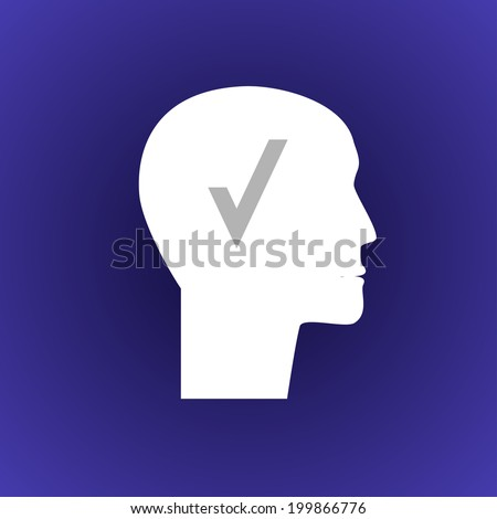 Head with check. Raster version. - stock photo