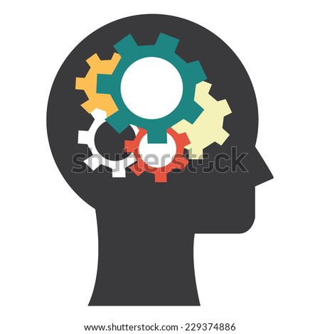 Head With Colorful Gear Inside Icon or Label Isolated on White Background  - stock photo