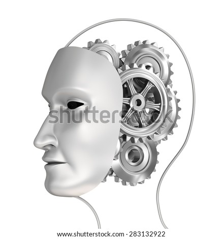Head with gears in brain, 3D illustration - stock photo