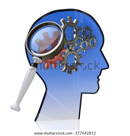 Head with gears inside as a symbol work of brain and magnifying glass in the design of the information related to the ideas and technologies - stock photo
