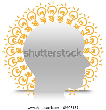 Head With Many Light Bulb For Idea Generate Isolate on White Background