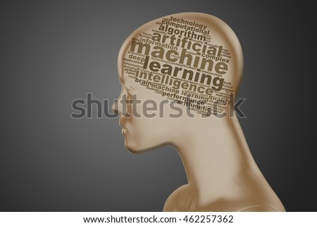 Head with tag cloud brain, containing words related to machine learning and artificial intelligence