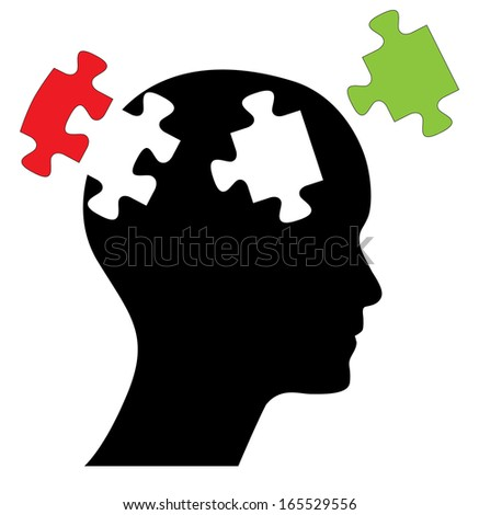 Head with two piece of missing puzzles. Abstract editable design with black head and green and res puzzle pieces.  - stock photo