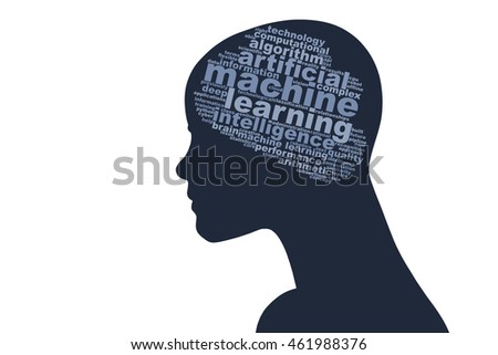 Head with word cloud brain, containing words related to machine learning and artificial intelligence