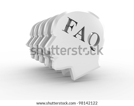 Head with word FAQ on white background. 3D image - stock photo