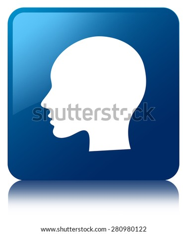 Head (woman face) icon blue square button