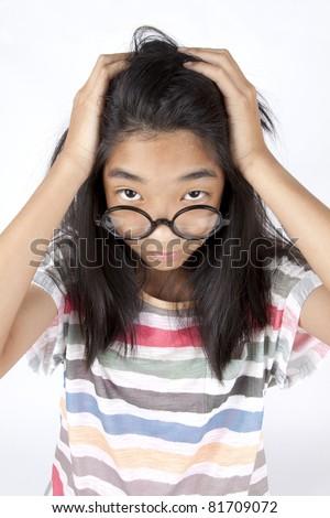 headache, Asian girl crush her dizzy head. - stock photo
