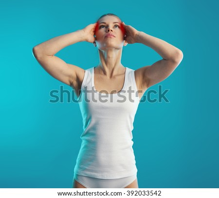 Headache. Memory problem. Young woman touching her sore head.  - stock photo