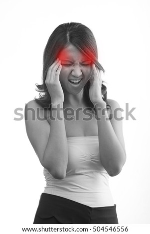headache or migraine or stress symptom of woman with her hand holding her head