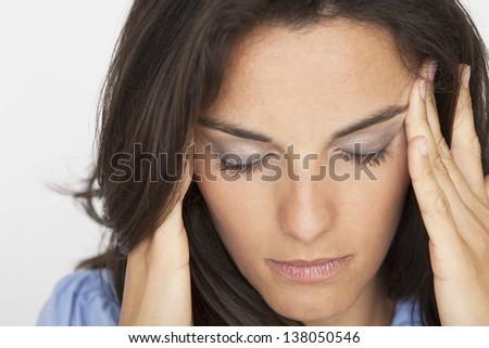 headache woman - stock photo